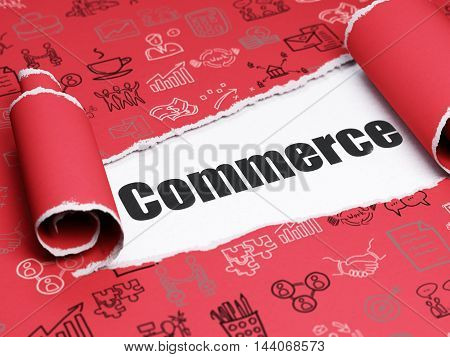 Finance concept: black text Commerce under the curled piece of Red torn paper with  Hand Drawn Business Icons, 3D rendering