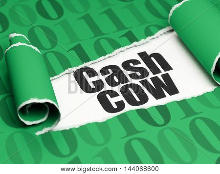 Business concept: black text Cash Cow under the curled piece of Green torn paper with  Binary Code, 3D rendering