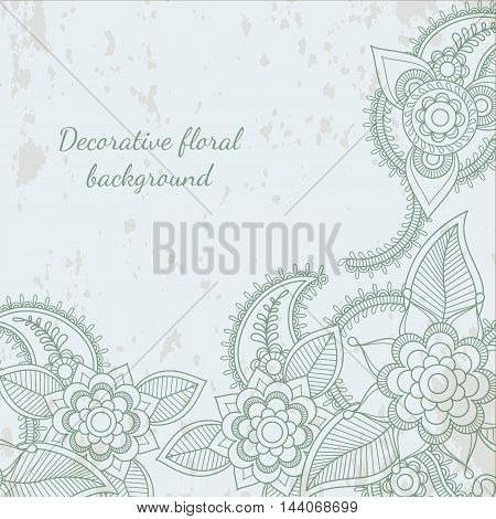 Decorative flower leaf henna mehendi background vintage style. Vector illustration
