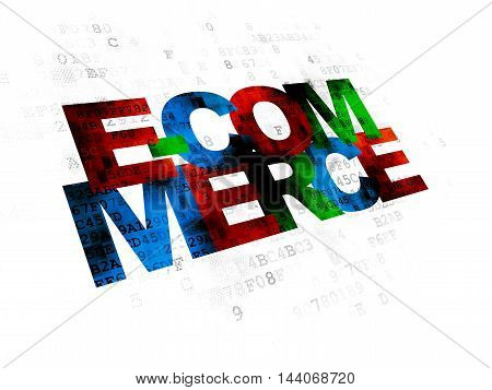 Business concept: Pixelated multicolor text E-commerce on Digital background
