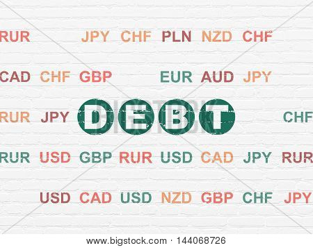 Business concept: Painted green text Debt on White Brick wall background with Currency