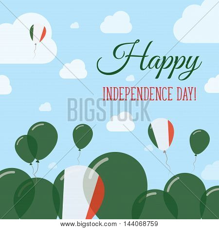 Italy Independence Day Flat Patriotic Design. Italian Flag Balloons. Happy National Day Vector Card.