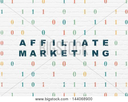 Business concept: Painted blue text Affiliate Marketing on White Brick wall background with Binary Code