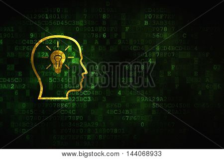 Finance concept: pixelated Head With Lightbulb icon on digital background, empty copyspace for card, text, advertising