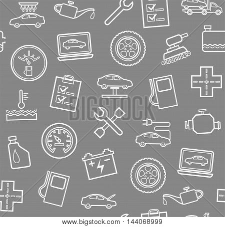 Repair and maintenance of vehicles, seamless grey background. Vector flat background with drawings of services an auto repair shop. White, linear image on a gray background.
