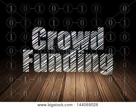 Finance concept: Glowing text Crowd Funding in grunge dark room with Wooden Floor, black background with Scheme Of Binary Code