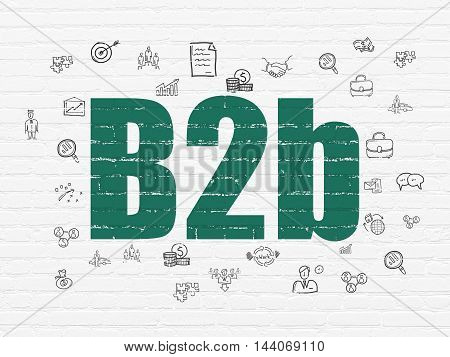Business concept: Painted green text B2b on White Brick wall background with  Hand Drawn Business Icons