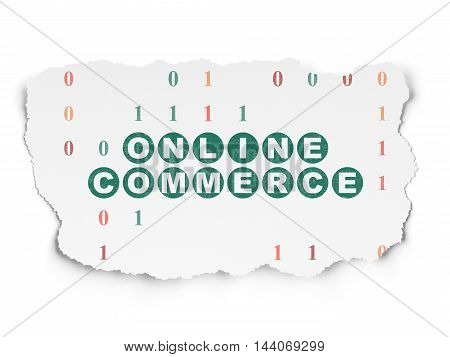 Business concept: Painted green text Online Commerce on Torn Paper background with  Binary Code