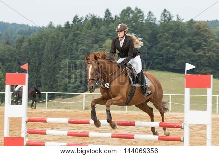 SVEBOHOV CZECH REPUBLIC - AUG 20: Beautiful blond horsewoman during the jump on a horse. The height of obstacles is 80 cm.