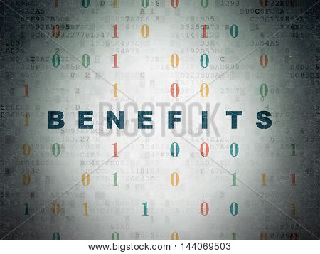 Finance concept: Painted blue text Benefits on Digital Data Paper background with Binary Code