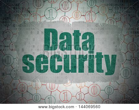 Protection concept: Painted green text Data Security on Digital Data Paper background with  Scheme Of Binary Code