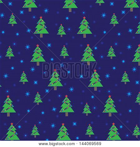 Christmas tree with garland and snowflakes on dark blue background. Seamless pattern