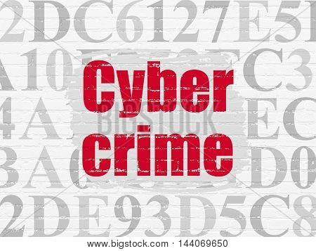Safety concept: Painted red text Cyber Crime on White Brick wall background with  Hexadecimal Code