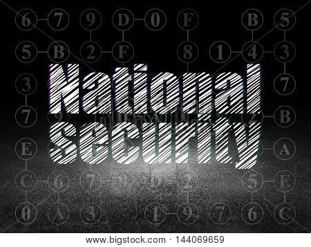 Privacy concept: Glowing text National Security in grunge dark room with Dirty Floor, black background with Scheme Of Hexadecimal Code
