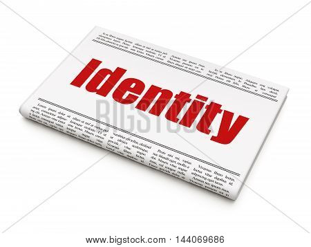 Privacy concept: newspaper headline Identity on White background, 3D rendering