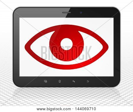 Protection concept: Tablet Pc Computer with red Eye icon on display, 3D rendering