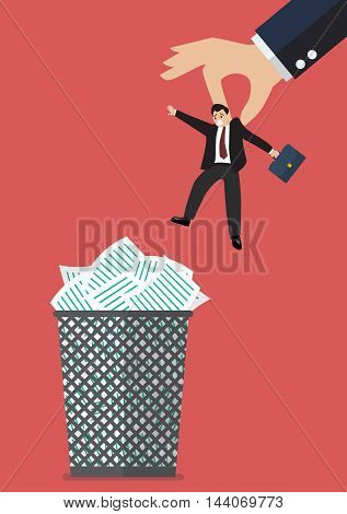 Boss throws a businessman in the trash can. Business concept