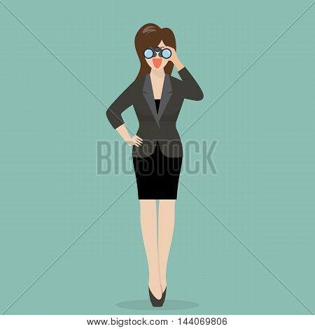 Business woman with binoculars. Business concept vector illustration