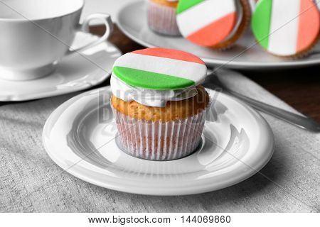 Tasty cupcakes on plate. Saint Patrics Day concept