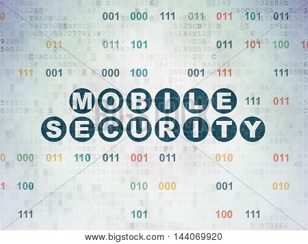 Privacy concept: Painted blue text Mobile Security on Digital Data Paper background with Binary Code
