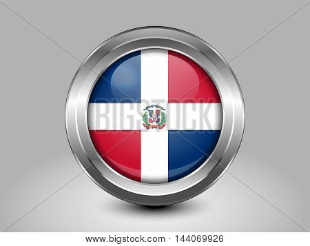 Flag of Dominican Republic. Metal and Glass Round Icon. This is File from the Collection North America Flags