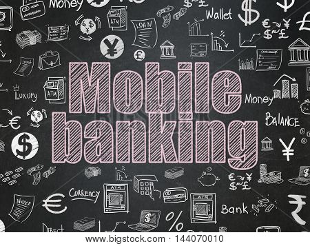 Banking concept: Chalk Pink text Mobile Banking on School board background with  Hand Drawn Finance Icons, School Board