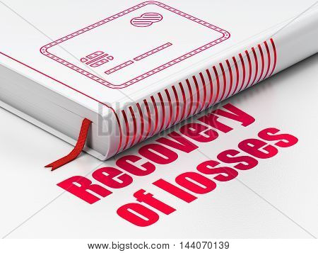 Currency concept: closed book with Red Credit Card icon and text Recovery Of losses on floor, white background, 3D rendering