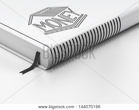 Money concept: closed book with Black Money Box icon on floor, white background, 3D rendering