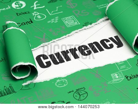 Money concept: black text Currency under the curled piece of Green torn paper with  Hand Drawn Finance Icons, 3D rendering