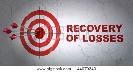 Success currency concept: arrows hitting the center of target, Red Recovery Of losses on wall background, 3D rendering