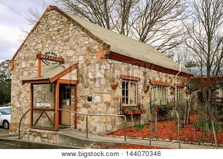 Adelaide Australia - August 13 2016: Old Mill Hotel in the town of Hahndorf Adelaide Hills area South Australia. View at reception area.