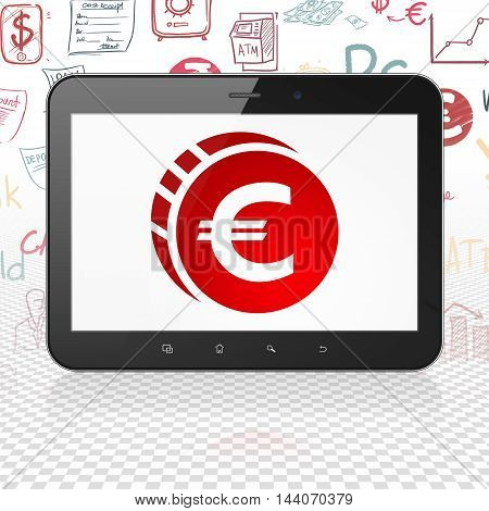 Money concept: Tablet Computer with  red Euro Coin icon on display,  Hand Drawn Finance Icons background, 3D rendering