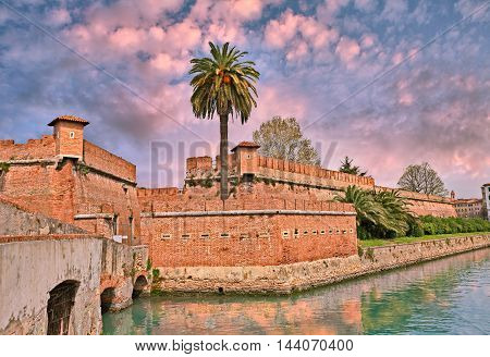 Livorno (Leghorn) Tuscany Italy: the old fortress Fortezza Nuova surrounded by a navigable moat. It was built to defend the city from attack by pirates.