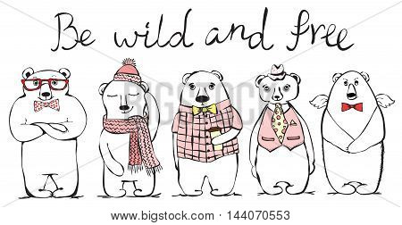 Cool awesome bears. Hand drawn print style