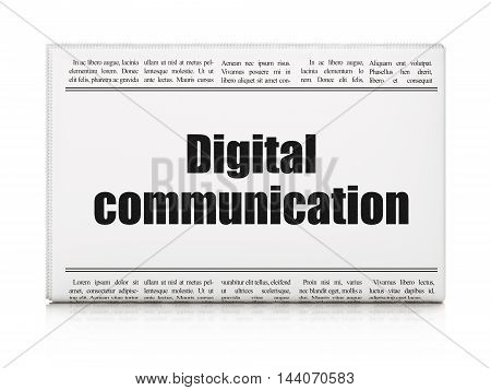 Information concept: newspaper headline Digital Communication on White background, 3D rendering