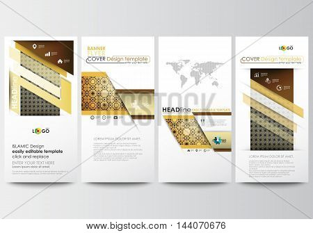 Flyers set, modern banners. Business templates. Cover design template, easy editable, abstract flat layouts. Islamic gold pattern, overlapping geometric shapes forming abstract ornament. Vector golden texture.