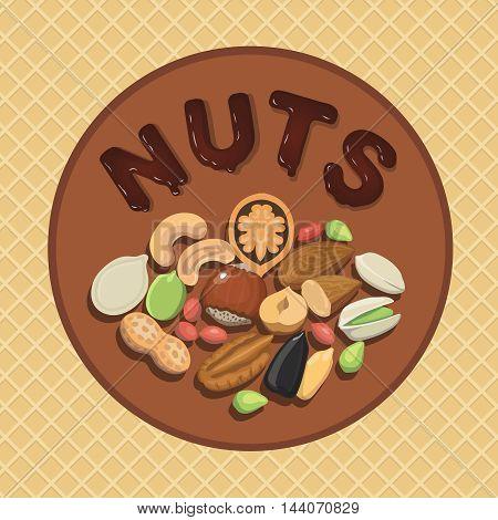 Nut collection with raw food mix and Round label illustration hazelnut, almond, pistachio, pecan, cashew, , walnut, peanut and pumpkin seeds