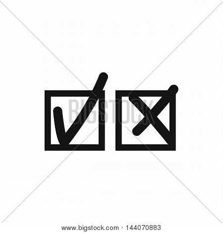 Checkmark to accept and refusal icon in simple style isolated on white background. Click and choice symbol