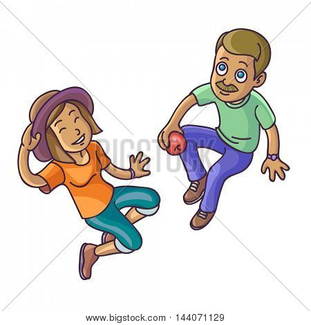 Top view of two people woman and man sitting on the floor. Vector Illustration