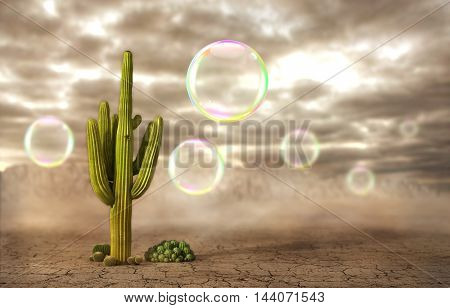 Concept of danger. Soap bubbles flying near the cactus on a desert background. Risk. 3d illustration
