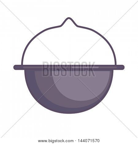 Camping pot. Vector Illustration. Isolated on White.
