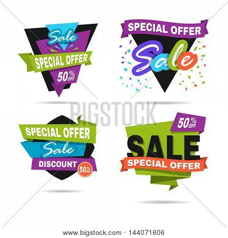 Special offer sale banner. Discount price label. Symbol of promotion and advertising. Elements for business. Flat design. Vector illustration isolated on white background. Set or collection.