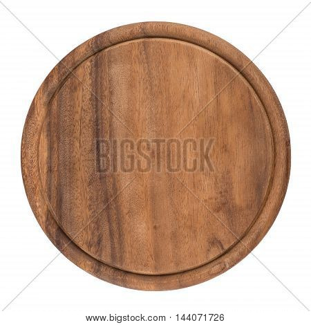 Round wooden cutting board on white background. Top view.