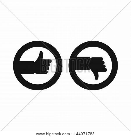 Signs hand up and down icon in simple style isolated on white background. Click and choice symbol