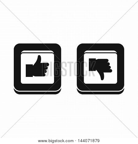 Signs hand up and down in squares icon in simple style isolated on white background. Click and choice symbol