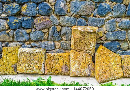 The medieval ruined khachkars of Sevanavank Monastery are the masterpieces of art preserved till nowadays Sevan Armenia.