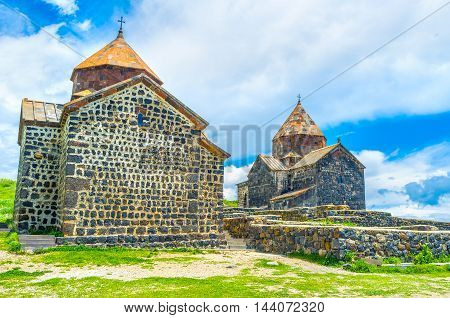 The beautiful stone churches of Sevanavank Monastery have the same architecture design Sevan Armenia.