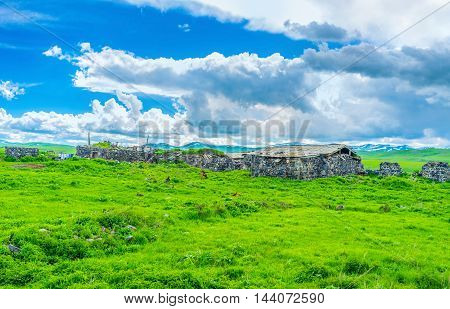 The old poor farm in highlands of Gegharkunik Province on the road to Selim Pass Armenia.