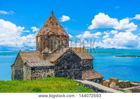 The Sevanavank Monastery is the most popular landmark on Sevan Lake it's visited by tourists and pilgrims Sevan Armenia.