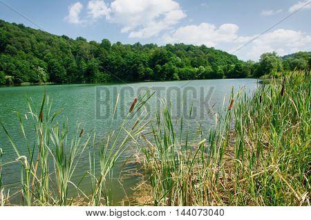 landscape Upper Blue Lake the Caucasus Russia
